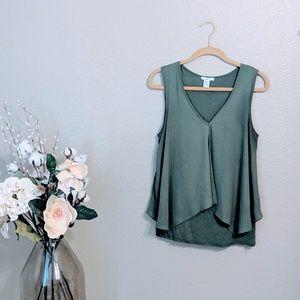 Bar III Green Sleeveless Blouse Flowy Fit Sz L